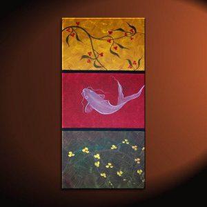Zen Koi Fish Painting Chinese Red Green Yellow Wall Art Style Original Art Zen Home Decor Japanese Artwork Custom 15x30