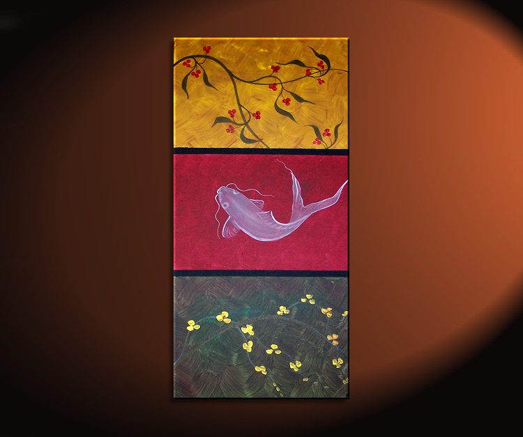 Zen Koi Fish Painting Chinese Red Green Yellow Wall Art Style Original Art  Zen Home Decor
