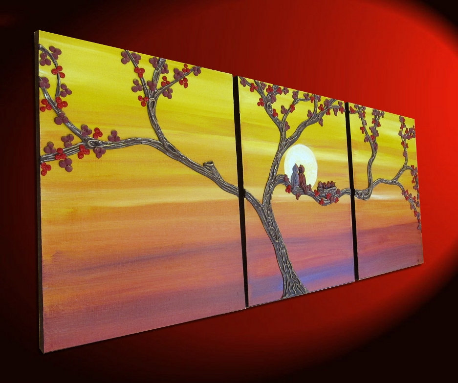 Cardinal Painting Bird Family Sunset Art Nesting Birds And Love Birds Orange And Red Wall Art Large Painting 48x20 3d Textured Sculpted