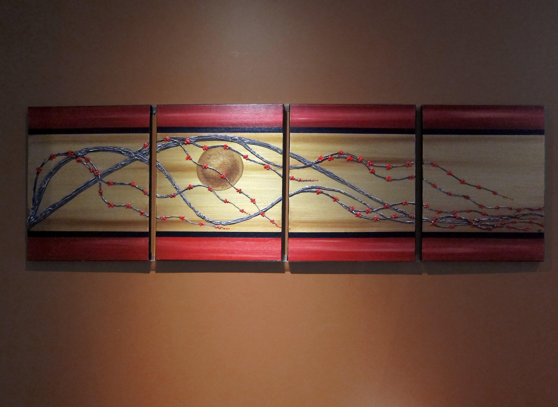 Golden cherry blossom painting three dimensional braches and deep red flowers wall art asian zen tree art 64x20