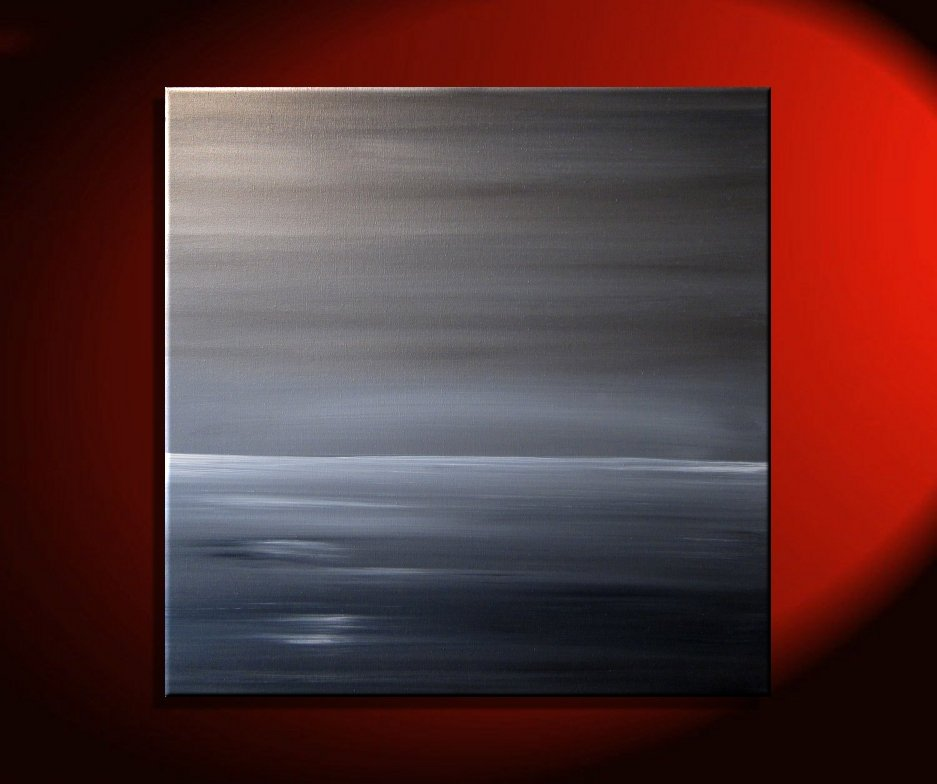 Gray Seascape Art Abstract Crimson Ocean Painting Modern Abstract ...