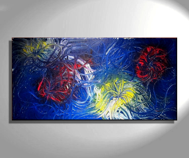 Large Blue Abstract Painting ...