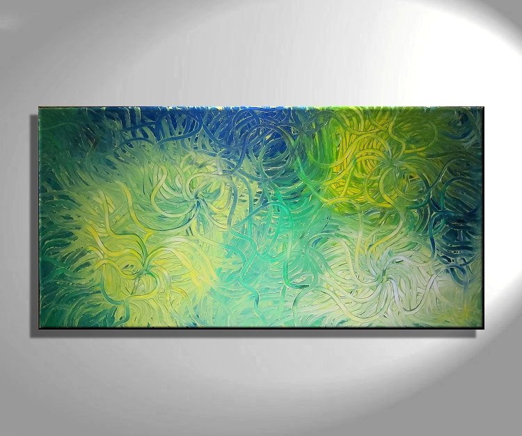 Large Green Abstract Painting ...