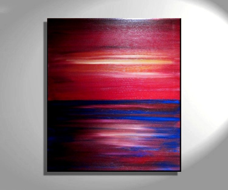 Rainbow Seascape Painting Abstract Art Vibrant Colorful Red And Blue Wall Art Ocean Home Decor 28x32