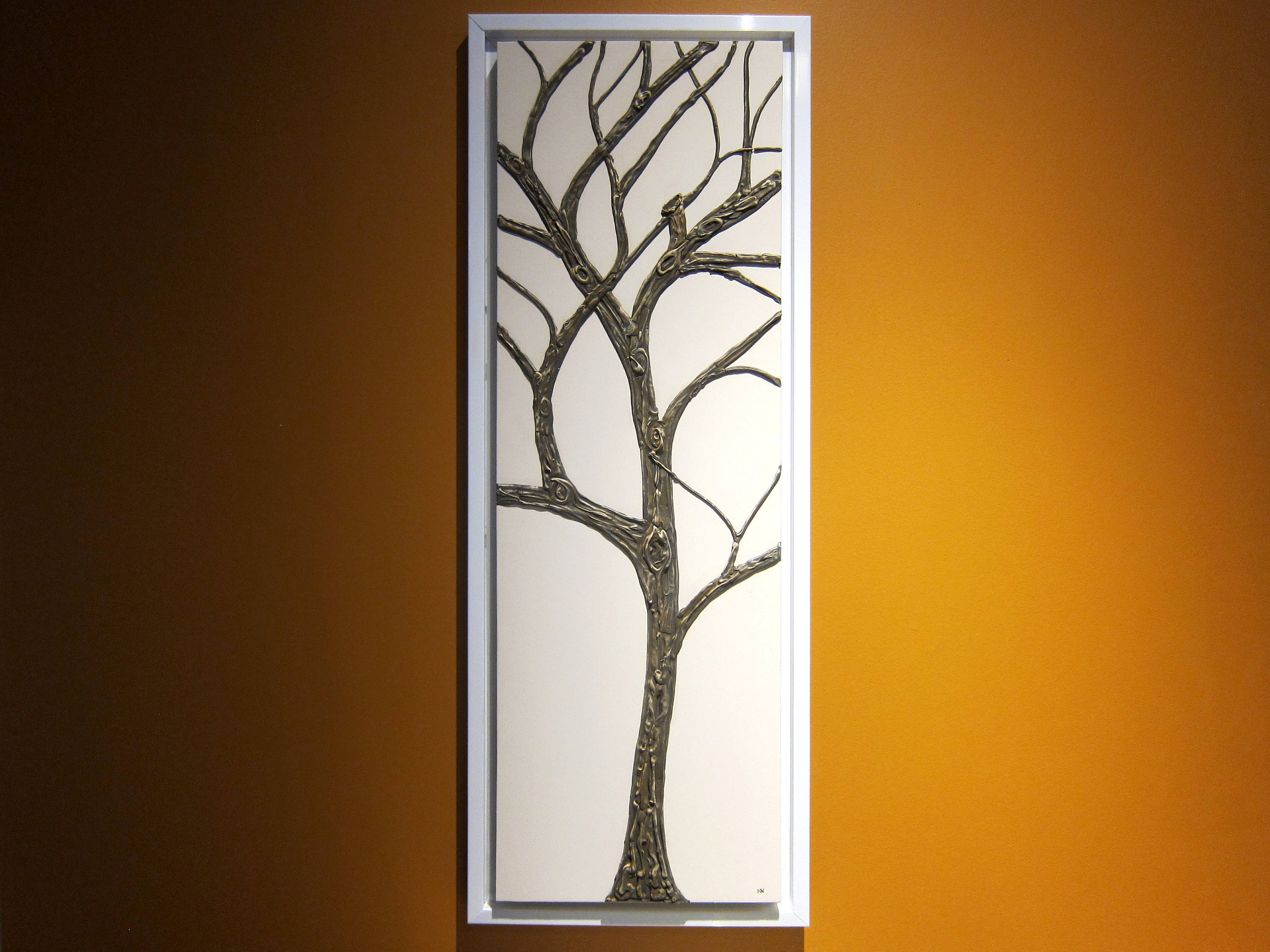 tall tree of life painting white and dark brown super textured and
