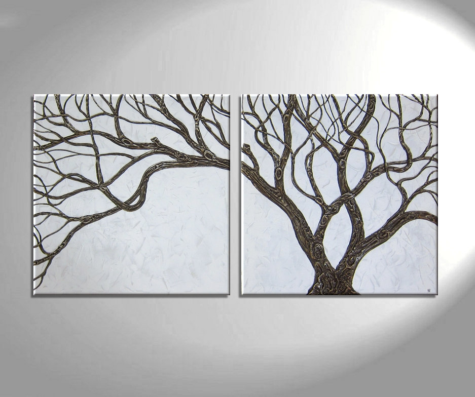 Brown And White Painting Tree Branches 6 Piece Multi Panel Modern