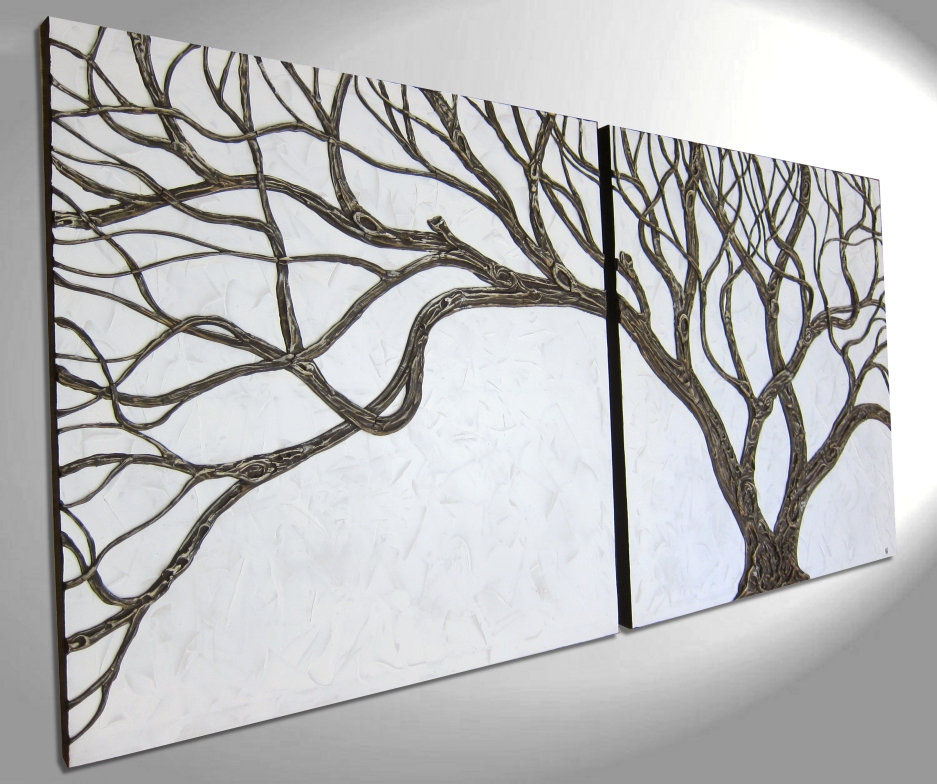 Tree Painting 3d Textured Branches Sculpted Wall Art Original Home