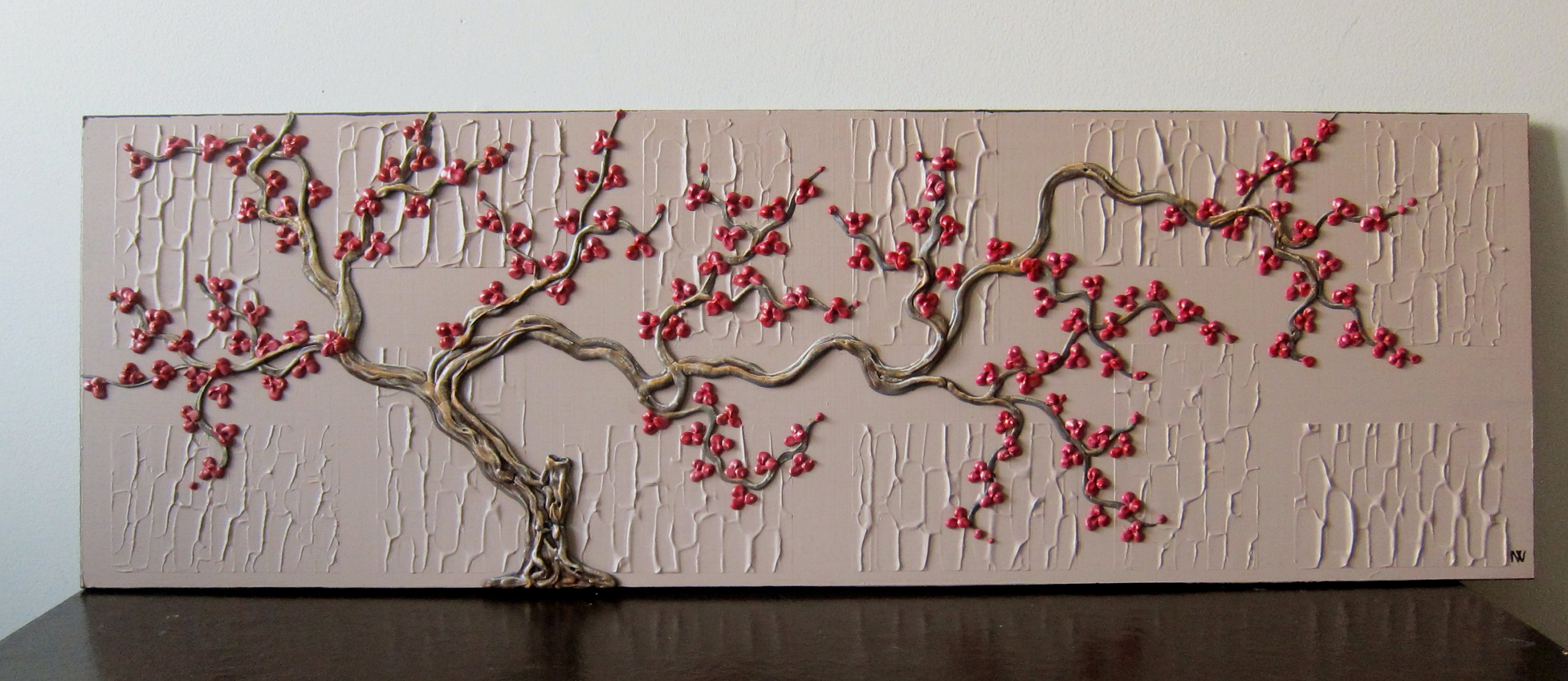 Tree Painting Sculpted Wood Textured 3d Original Art One Of A Kind Wall Art Home Decor 40x16 By Artist Nathalie Van